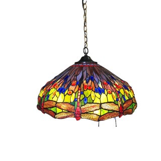 Tiffany-Style Stained Glass Hanging Dragonfly Chandelier For Sale