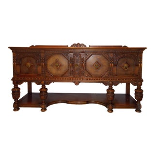 1920s Jacobean Oak Sideboard For Sale