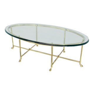1970s Hollywood Regency Brass Oval Hoof Feet Coffee Table For Sale