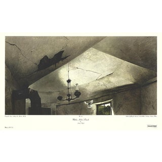 """Andrew Wyeth Mother Archie's Church 19.25"""" X 32"""" Poster Modernism Black & White Bird, Abandoned, Ceiling, Window For Sale"""