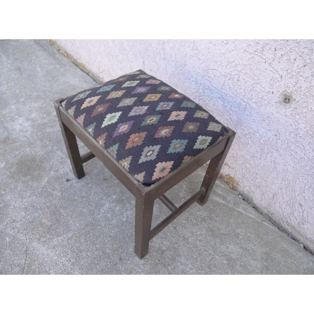 Blue Antique Chippendale Salesman Sample Doll Footstool For Sale - Image 8 of 11