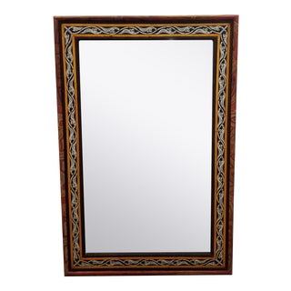 Moroccan Leather and Metal Inlaid Mirror, Rectangular For Sale