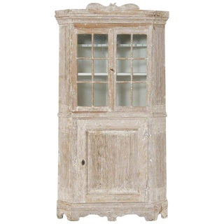 18th Century Swedish Baroque Period Corner Vitrine Cabinet in Original Paint For Sale