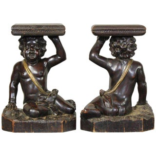 Italian Carved Wood Side Tables - a Pair