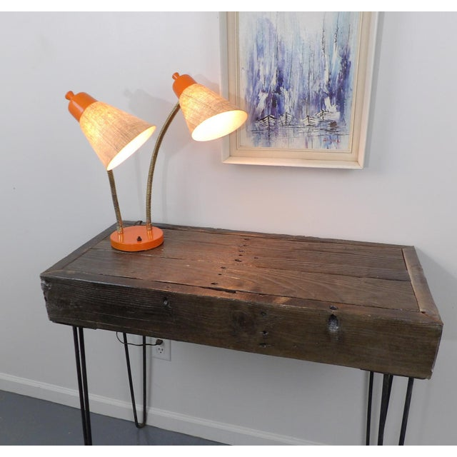 Reclaimed Fingered Redwood Hairpin Legs Sofa Table For Sale - Image 5 of 11