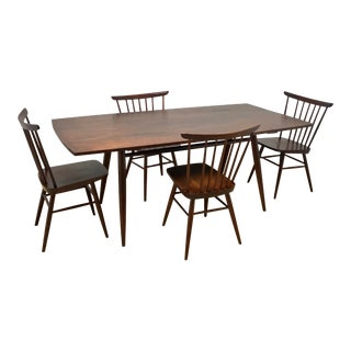 Mid-Century Modern American Studio Craft Solid Walnut Dining Set - 5 Pieces For Sale