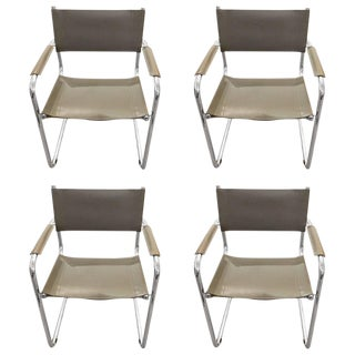 Mid-Century Modern Grey Leather and Chrome Dining Armchairs- Set of 4 For Sale