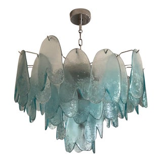 Murano 3-Tier Turquoise Chandelier For Sale