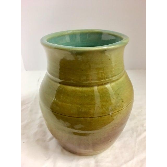 Green Vintage Ceramic Vase With Aqua Interior For Sale - Image 8 of 10