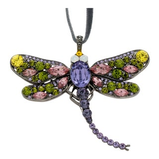 Dragonfly Hanging Ornament, Rose and Olive For Sale