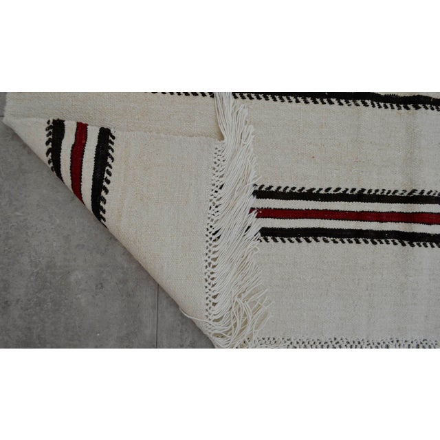 Red Vintage Natural Turkish Cotton Stripe Kilim Rug - 4′7″ × 7′9″ For Sale - Image 8 of 9