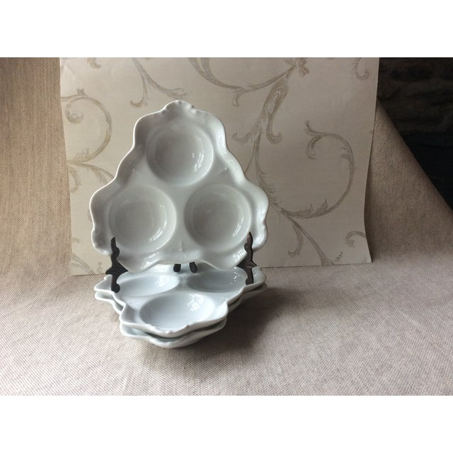 Antique Bistro Style Porcelain Oyster Plates - Set of 3 For Sale - Image 4 of 10