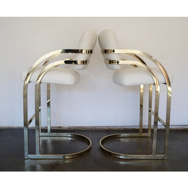 Hollywood Regency Cantilevered Bar Stools in Brass - A Pair - Image 8 of 8