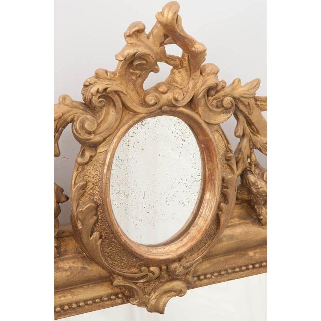 French 19th Century Ornately Carved Giltwood Over-Mantle Mirror For Sale - Image 10 of 13