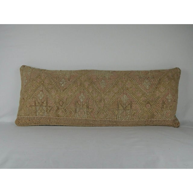 1990s 16 X 40 Inch Hippie Bedding Kilim Pillow Cover, Handwoven Wool Long Bed Cushion For Sale - Image 5 of 5