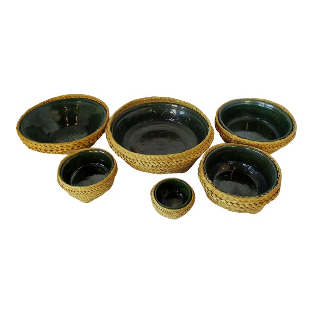 Ceramic & Wicker Nesting Bowls, Set of 6 For Sale