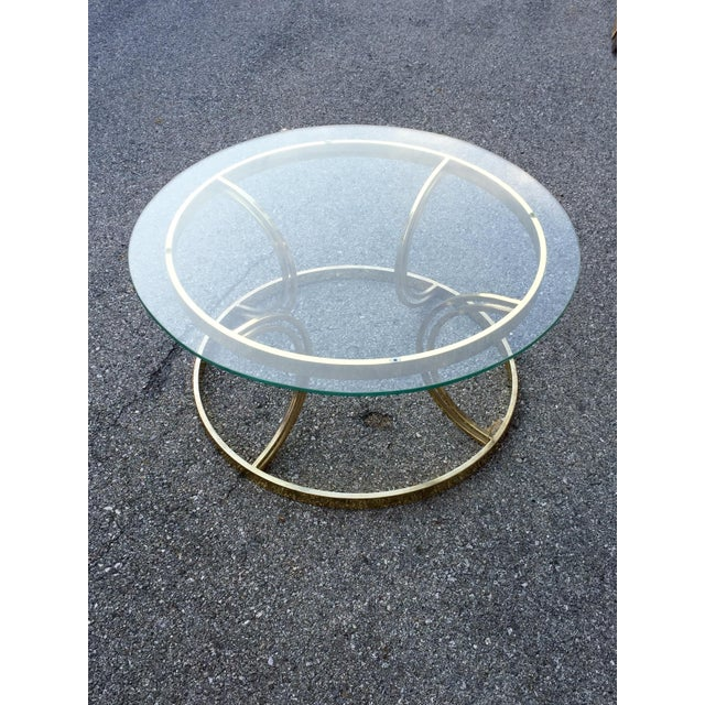 Crescent Base Brass Cocktail Table - Image 2 of 6