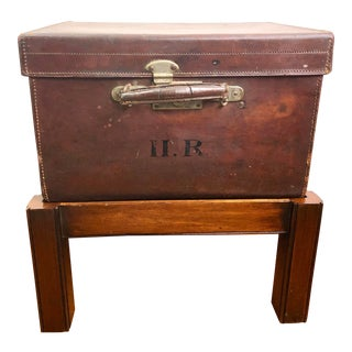 English Leather Trunk on Stand For Sale