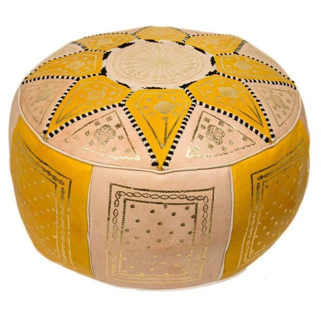 Yellow Marrakech Leather Pouf - Image 3 of 3
