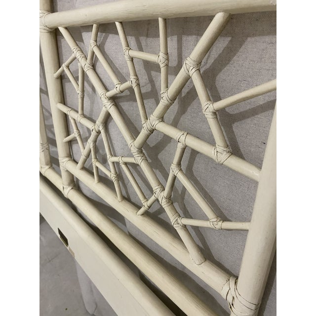"""Late 20th Century Vintage McGuire Full Size """"Cracked Ice"""" Rattan Headboard For Sale - Image 5 of 10"""