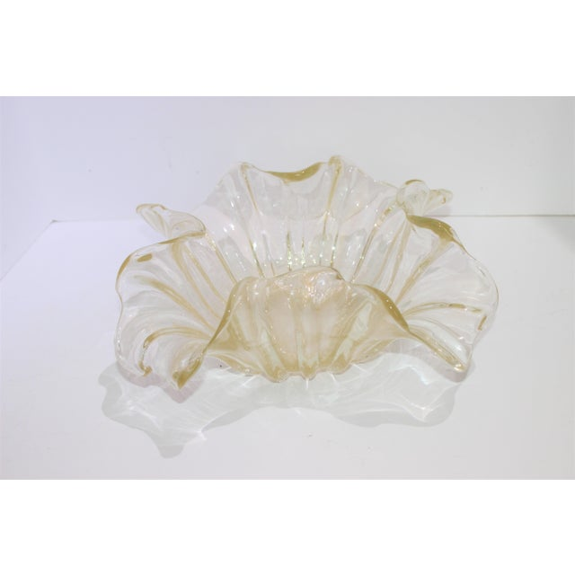 Murano Murano Glass Ribbon Free Form Vase Bowl Infused Gold Flecks by Barovier Et Toso For Sale - Image 4 of 9