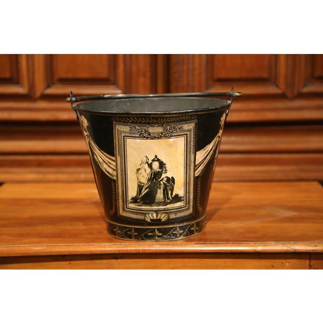 19th Century French Directoire Hand-Painted Black and White Tole Basket Planter For Sale In Dallas - Image 6 of 9