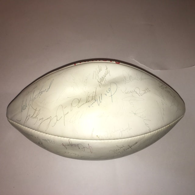 Vintage Autographed New England Patriots Football - Image 4 of 6
