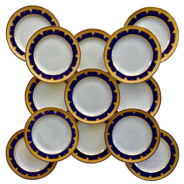 White Cobalt Blue Dinner Plates - Set of 12 For Sale - Image 8 of 8