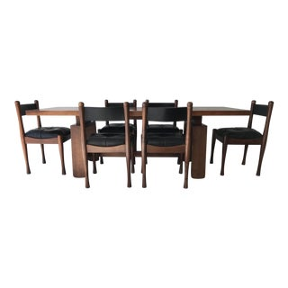 Silvio Coppola by Bernini Italian Mid Century Modern Walnut and Leather Dining Set For Sale