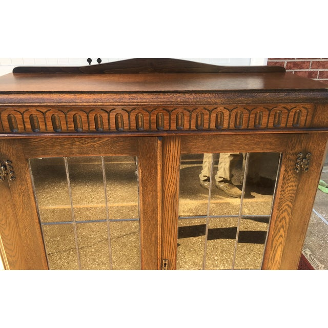 Mid-Century Carved Oak Leaded Glass Bookcase For Sale - Image 9 of 10