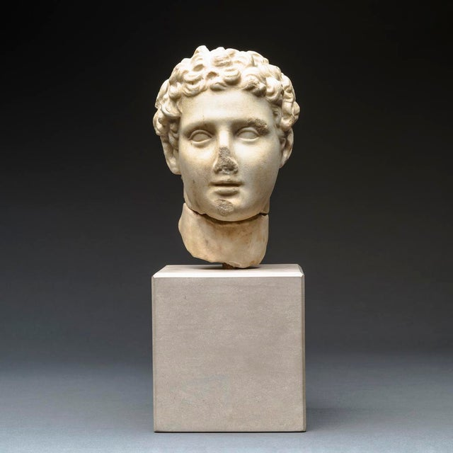 White Hellenistic Marble Head of Alexander the Great For Sale - Image 8 of 8