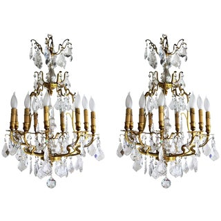 1920s Vintage Gilt Bronze and Crystal Louis XV Style Chandeliers - a Pair For Sale