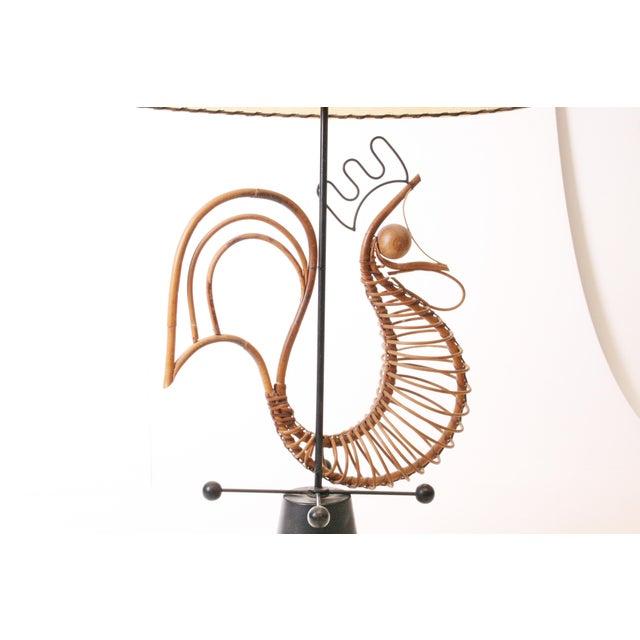 Fiberglass Frederick Weinberg Mid Century Modern Wicker Table Lamp For Sale - Image 7 of 11