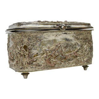 Antique Hunt Scene Decorated Box For Sale