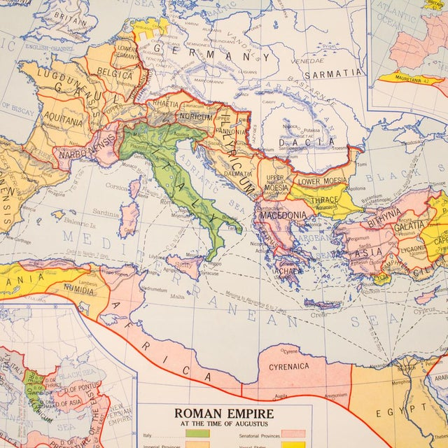 1940s Industrial Pull Down Map of Rome Italy and the Roman Empire For Sale - Image 5 of 9