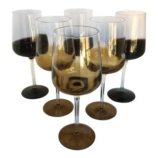 Mid-Century Modern Style Reverse Ombré Black & Amber Brown Wine Glasses - Set of 6 For Sale