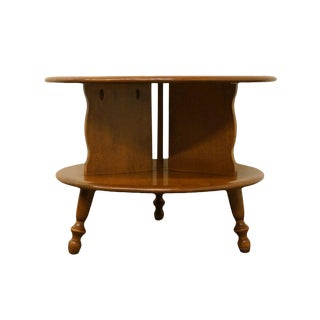 "Ethan Allen Heirloom Nutmeg Maple 24"" Round Drum End Table For Sale"