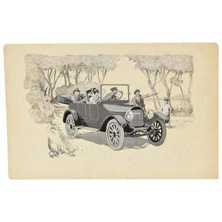 1920s Vintage Touring Car W Chauffer Automobile Advertising Painting For Sale