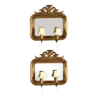 1900s Antique Carved Wood, Gilt, and Gesso with Candle Arms Mirrored Sconces - a Pair For Sale