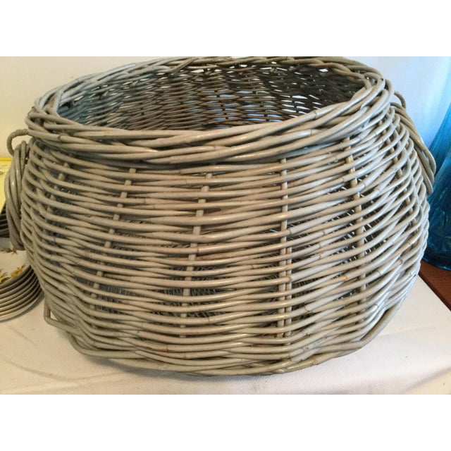 Wood Decorative Basket With Handles For Sale - Image 7 of 10