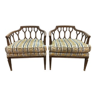 1960s Vintage Dorothy Draper Style Barrel Back Lounge Chairs - a Pair For Sale
