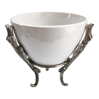 Arthur Court Style Aligator Footed Compote For Sale