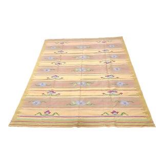 Vintage Wool Dhurrie Geometric Floral Stripe - 9′ × 12′ For Sale