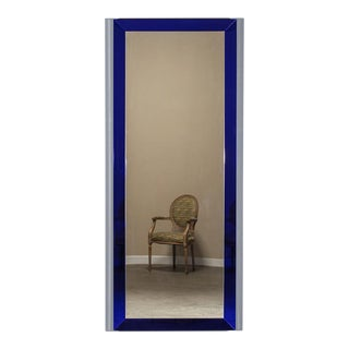 1960s Vintage Italian Cobalt Glass Framed Mirror For Sale