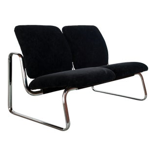 Vintage Mid Century Modern Steelcase Chrome & Black Two Seater Sofa Loveseat For Sale