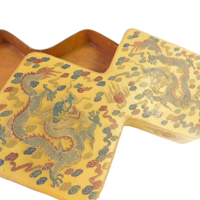Yellow Lacquer Double Rhombus Painted Box For Sale - Image 5 of 7