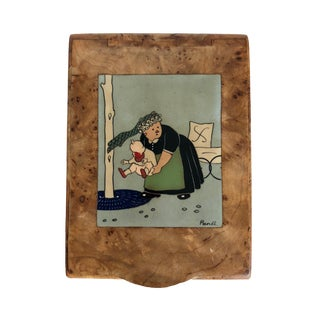 Art Deco French Cigarette Box With a Nanny Holding a Crying Baby Motif For Sale