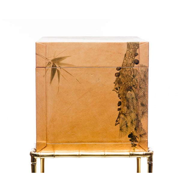 Lawrence & Scott Hand-Painted Natural Tan Leather Box on Handcrafted Brass Stand as Side Table For Sale - Image 4 of 11