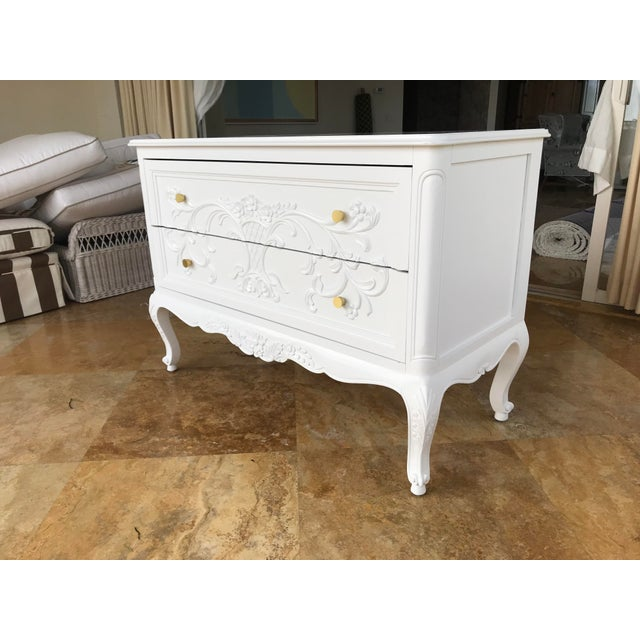 High-end solid wood, hand-carved, double drawer dresser, professionally painted with white conversion varnish semigloss...