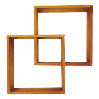 Vintage Wood Squares Curio Shelf